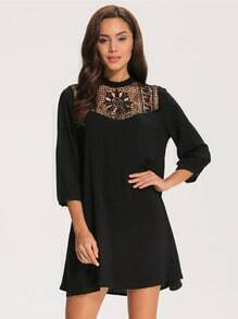 Black Floral Crochet Hollow Loose Dress