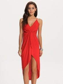 Red Deep Plunge Neck High Low Dress