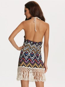 Multicolor Halter Geometric Print Argyle Triangle Tassel Dress