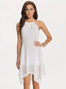 White Poplin Halter Asymmetrical Hem Flapper Dress