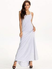 White Cross Back Striped Maxi Dress