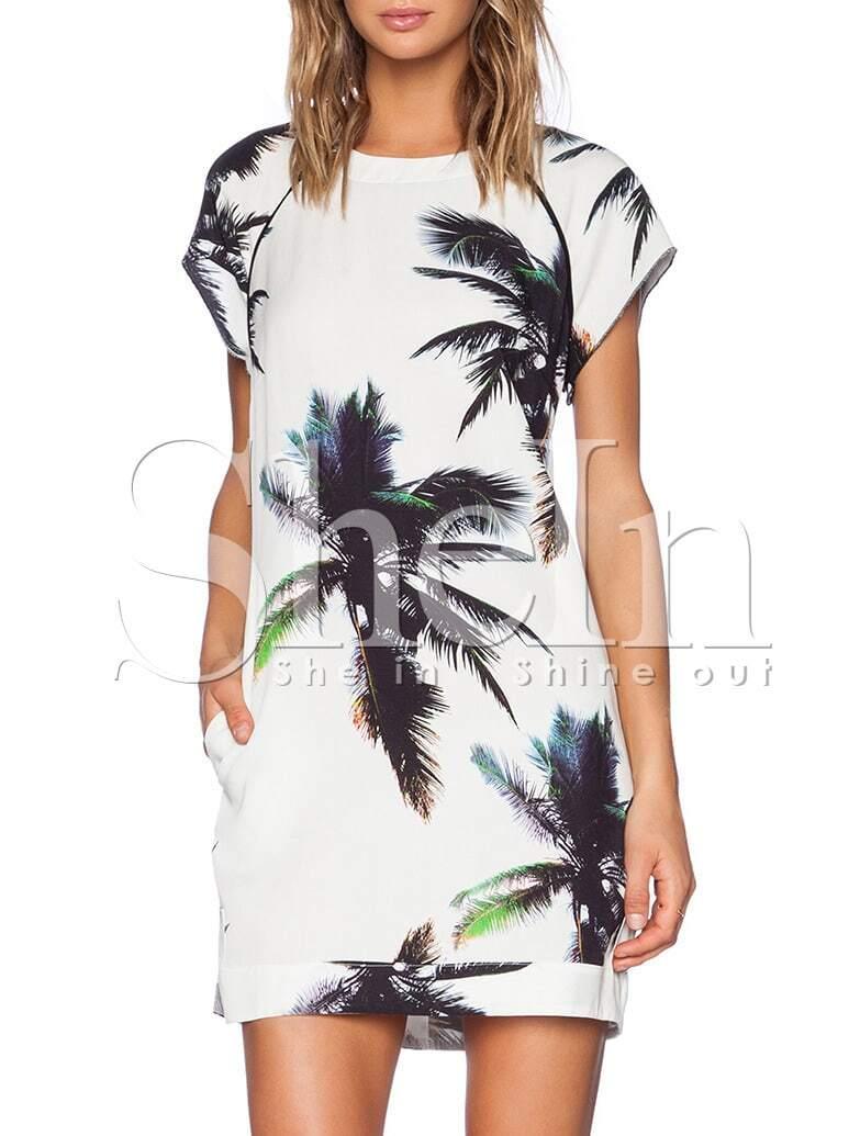 White Short Sleeve Trees Print Dress