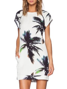White Short Sleeve Trees Print Dress