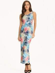Blue Tropical Print Scoop Neck Maxi Dress