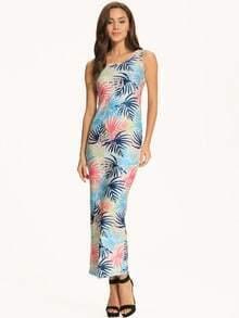 Blue Tropical Print Scoop Neck Maxi Dress