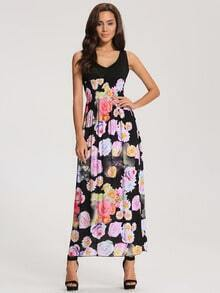Black Fling Deep V Neck Floral Maxi Dress