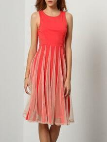 Red Sleeveless With Mesh Pleated Dress