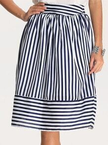Blue Striped Puff Skirt
