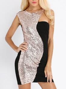 Black Gold Sequined Glittering Glitzy Colorblock Beautifully Sleeveless Dress