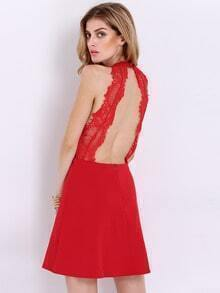 Wine Red Sleeveless With Lace Backless Dress