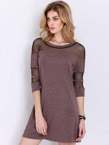 Grey Half Sleeve Contrast Mesh Yoke Dress