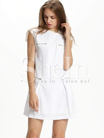 White Cap Sleeve Zipper Dress