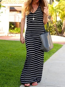 Black Sleeveless Striped Maxi Dress