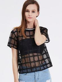 Black Short Sleeve Hollow Plaid Blouse