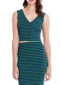 Green V Neck Striped Crop Top With Bodycon Skirt