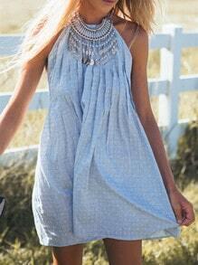 Blue Sleeveless Backless Dress