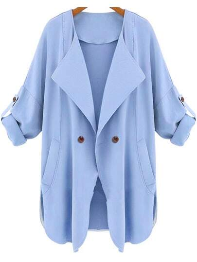 Blue Long Sleeve Pockets Trench Coat