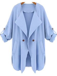 Blue Long Sleeve Pockets Trench Coat -SheIn(Sheinside)