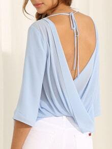 Blue Half Sleeve With Lace Backless Blouse