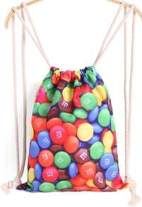 Multicolor Chocolate Bean Print Backpack