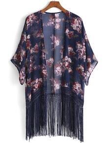 Navy Half Sleeve Floral Print Tassel Kimono