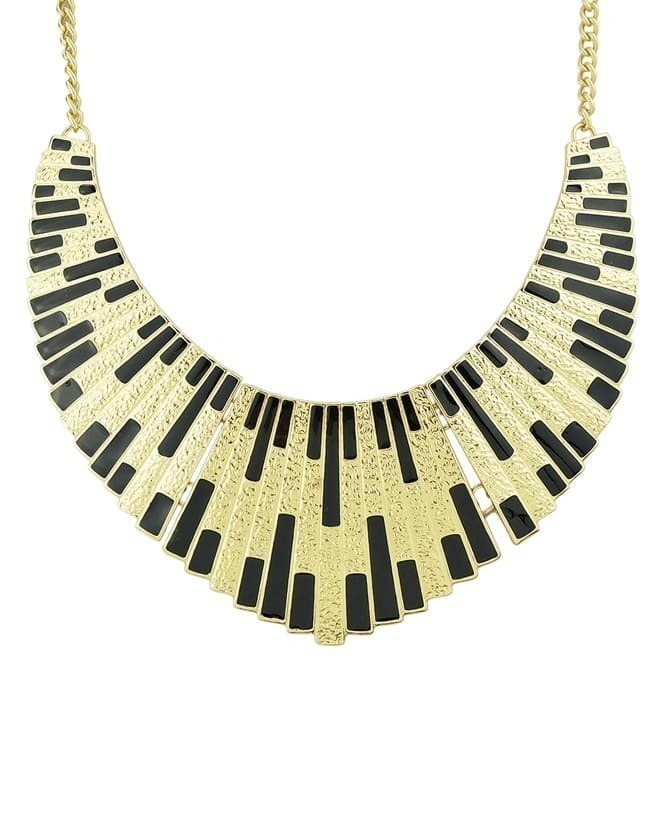 Black Shining Bib Collar Necklace