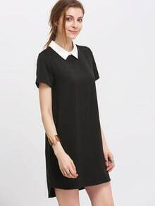 Black Peterpan Contrast Lapel High Low Dress