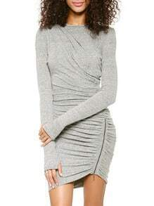 Grey Long Sleeve Zipper Slim Bodycon Dress