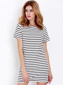 White Short Sleeve Striped Dress