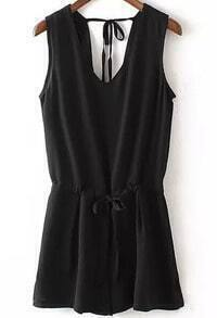 Black V Neck Sleeveless Peplum-waist Jumpsuit