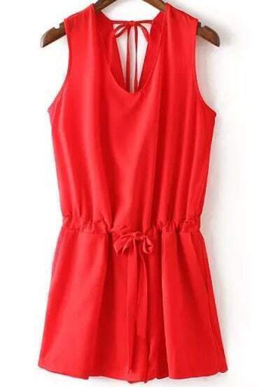 Red V Neck Sleeveless Peplum-waist Jumpsuit