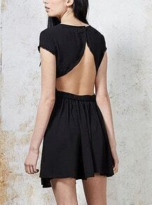 Black Cap Sleeve Embroidered Backless Dress