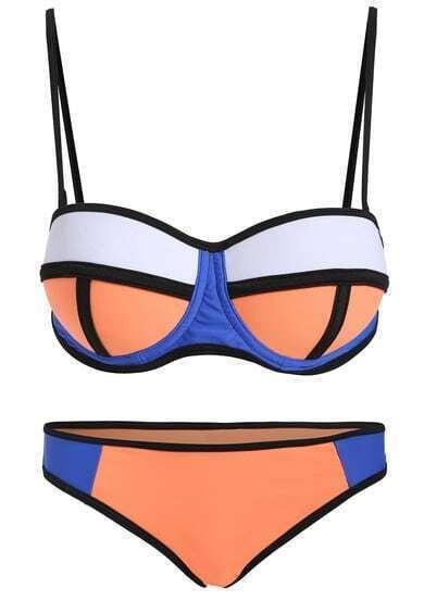 Colour-block Spaghetti Strap Bikini Set