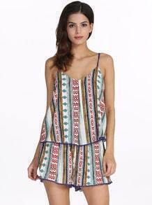 White Spaghetti Strap Tradition Tribal Print Dress