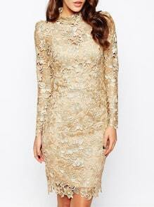 Tan Champagne Long Sleeve Crochet Lace Dress