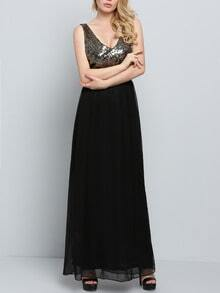 Black V Neck Sleeveless Sequined Maxi Dress