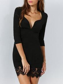 Black Half Sleeve With Lace Hearts Dress
