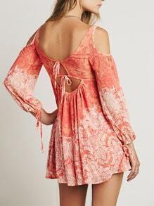Orange Off The Shoulder Vintage Print Dress