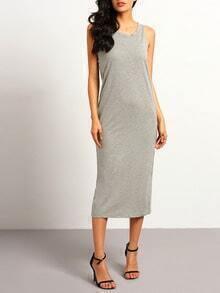 Grey Sleeveless Backless Split Dress
