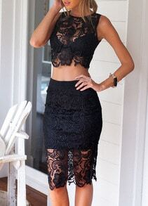 Black Sleeveless Floral Crochet Top With Lace Skirt