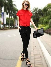 Red Stand Collar Loose Top With Black Pant