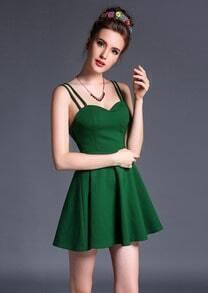 Green Spaghetti Strap Backless Flare Dress