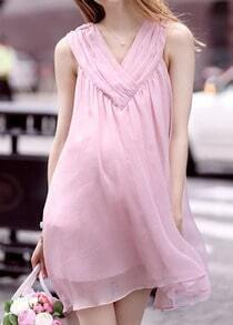 Pink V Neck Sleeveless Loose Chiffon Dress