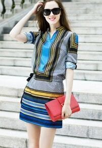 Blue Stand Collar Geometric Print Slim Dress