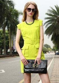 Neon Round Neck Belt Pockets Slim Dress