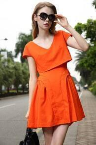 Orange V Neck Short Sleeve Backless Pleated Dress