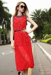 Red Fling Sleeveless Lace Two Pieces Dress
