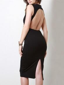 Black Sleeveless Deep V Neck Backless Split Dress