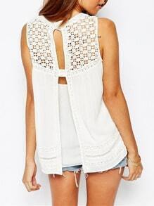 White Sleeveless With Lace Tank Top