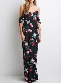 Black Spaghetti Strap Backless Patterned Floral Maxi Dress